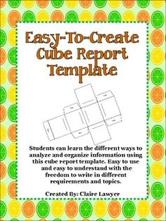 This cube report template is a great way to increase student interest in a topic… 7th Grade Science, 6th Grade Ela, Middle School Science, Reading Resources, Reading Strategies, Teaching Math, Teaching Ideas, 9th Grade English, Art Careers