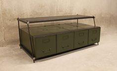 TV Stand Vintage Large File Drawers with ReBar Legs and Mesh Upper Shelf by nakedMETALstudio on Etsy https://www.etsy.com/listing/211576528/tv-stand-vintage-large-file-drawers-with