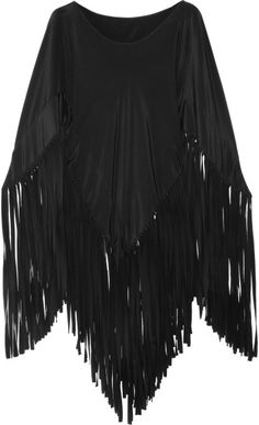 Moschino Black Fringed Silk Poncho | The House of Beccaria~