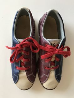 243234a9aca5 Vintage Bowling chaussures bleu blanc rouge Patine