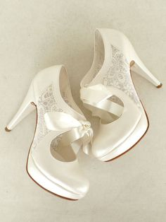 Wedding Shoes Bridal Shoes with Ivory Lace by KUKLAfashiondesign