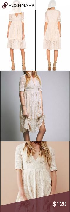 "Free People Mountain Laurel Dress Gorgeous FP cream colored lace dress. This one is called the ""Mountain Laurel"" and is a beautiful flowy piece that hits at the calf. Thick quality lace material and fully lined. Excellent barely worn condition with no rips, stains, or snags. Free People Dresses Maxi"