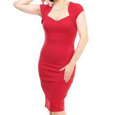 jaren 50 kleding Collectif Regina Bengaline Pencil Dress Red  Iedere lady hoort zich een Little Red Dress te gunnen! Daar is de Regina Dress perfect voor. Dit model is uitgevoerd in een superstretchy bengaline, waardoor ze zo comfortabel draagt en ook nog eens alle juiste lijnen accentueert.