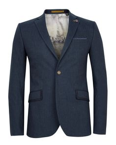 TELLJAK - Herringbone blazer - Navy | Men's | Ted Baker UK
