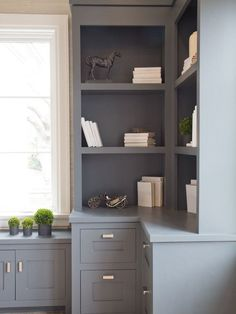Trendy Home Office Cabinets Built Ins Bookcases Ideas Office Built Ins, Built In Desk, Built In Bookcase, Built In Cabinets, Custom Cabinets, Inset Cabinets, Bookshelf Plans, Bookshelf Ideas, Grey Cabinets
