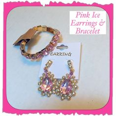 Stunning Pink Ice Earrings & Stretchy Bracelet Stunning Pastel Pink Ice Crystal Two Piece Earrings and Bracelet Set. Dangle Earrings - pink crystal faux gems set In faux gold surrounded by rhinestones. Bracelet is stretchy to fit all sizes. NEW from maker without tags & So lovely Jewelry Earrings