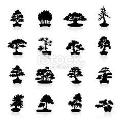 Illustration representing different bonsai trees. Cat Silhouette Tattoos, Tree Silhouette, Bonsai Tree Tattoos, Stencil Templates, Stencils, Tree Logos, Tattoo Project, Finger Tattoos, Free Vector Art