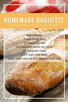 This Homemade Baguette Recipe is perfect for dipping, making sandwiches or just by itself.<br> This Homemade Baguette Recipe is perfect for dipping, making sandwiches or just by itself. Artisan Bread Recipes, Bread Machine Recipes, Easy Bread Recipes, Baking Recipes, Italian Bread Recipes, Cornbread Recipes, Jiffy Cornbread, Chef Recipes, Soup Recipes