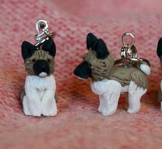 Akita Polymer Clay Dog Stitch Markers set of 4 by weeones on Etsy, $24.00