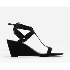 Charles & Keith T-BAR WEDGE SANDALS (£32) ❤ liked on Polyvore featuring shoes, sandals, wedge heel shoes, t-strap sandals, t strap shoes, open toe wedge sandals and open toe sandals