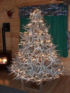 Awesome Christmas trees made from 30 years of shed antlers.