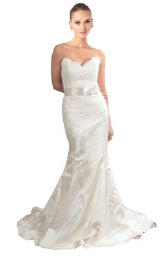 FairOnly Stock Mermaid Satin Wedding Dresses Bridal Gown Size 6 8 10 12 14 16