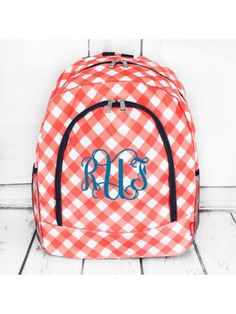 www.ewam.com Coral and White Diamond Gingham Large Backpack with Navy Trim