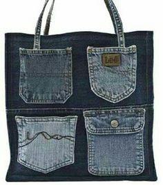 Reciclar, Reutilizar y Reducir : 14 fantásticas ideas para convertir viejos vaqueros en bolsos Denim Tote Bags, Denim Handbags, Denim Purse, Denim Bag Patterns, Artisanats Denim, Denim Crafts, Jean Crafts, Jean Purses, Blog Couture