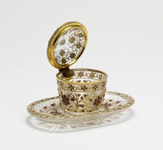 Mughal Style Covered Pot and Tray with Floral Pattern Indian (Artist) PERIOD:late 17th-18th century MEDIUM:rock crystal, gold, gems