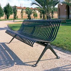 Contemporary Public Bench In Metal (with Backrest) LISBONNE AREA