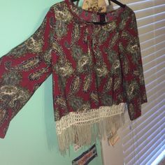 Boho top Paisley patterned top with fringe lined on both sides of the bottom PacSun Tops