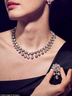 A model shows a diamond parure composed of 95 diamonds, including five solitaire diamonds that belonged to Marie-Antoinette. It was made for Louise of France grand-daughter of Charles X, King of France Jewelry Tags, Wedding Jewelry, Beaded Jewelry, Handmade Jewelry, Anklet Jewelry, Engagement Jewelry, Etsy Handmade, Wedding Ring, Wedding Gowns