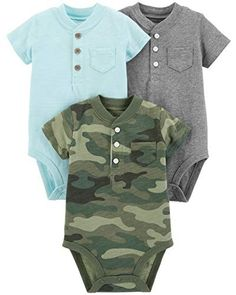 New Carter/'s Just One You 3 Pack Bodysuits Nautical Stripes Henley newborn NB