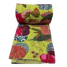 "Kantha Stitch Green Quilt Cotton Reversible Bedspread Queen Size Decorative Bedspread Handmade Gudri 104"" X 86"" Ibacrafts http://www.amazon.ca/dp/B00KNSMIZO/ref=cm_sw_r_pi_dp_JNJHvb1WB15FE"