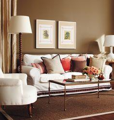DESIGN DISTRICT Tan & Coral Living Room. I love how this looks. It just needs navy accents.