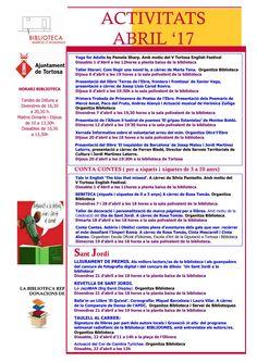 Activitats Abril 2017 Biblioteca Tortosa