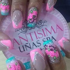 Orange Nail Designs, Short Nails Art, Flower Nail Art, Acrylic Nail Art, Stamping Plates, Manicure And Pedicure, Pink Nails, Pretty Nails, Nail Colors