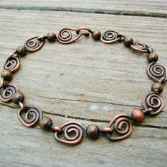 Swirls and Dots antiqued copper wire wrapped by BearRunOriginals