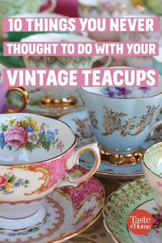 10 Things You Never Thought to Do With Your Vintage TeacupsYou can find Vintage teacups and more on our Things You Never Thought to Do With Your Vintage Teacups China Cups And Saucers, China Tea Cups, Tea Cup Display, Cup And Saucer Crafts, Coffee Cup Crafts, Teacup Crafts, Teacup Decor, Tea Cup Art, China Crafts