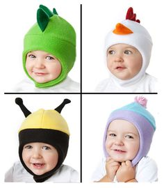 Image of Baby and Kids Aviator Fleece Hat Pattern with Chinstrap - Plain, Dinosaur, more