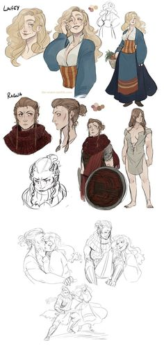 Laufey is the youngest of Asvald's sisters and currently lives happily with her wife, Ragna, a solitude guard. Ragna is strict, gruff, has a reput. Laufey and Ragna Character Design Animation, Fantasy Character Design, Character Design Inspiration, Character Concept, Character Art, Concept Art, Character Ideas, Dnd Characters, Fantasy Characters