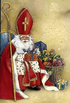 Saint Nicolas: Patron of Children - Secret benefactor to troubled family - Protecting daughter's future. Magical Christmas, Father Christmas, Vintage Santas, Vintage Christmas, Santa Pictures, Snowman Decorations, Early Christian, Catholic Saints, Christmas Printables