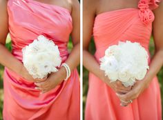 Wedding Floral Options – DIY Fabric Flower Bouquets. Bouquets for bride and bridesmaids made of fabric flowers.