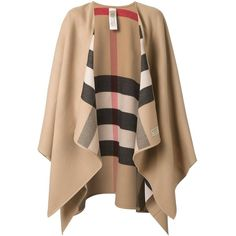 Burberry House Check Reversible Cape ($823) ❤ liked on Polyvore featuring outerwear, brown, burberry cape, brown cape, burberry, cape coat and reversible cape