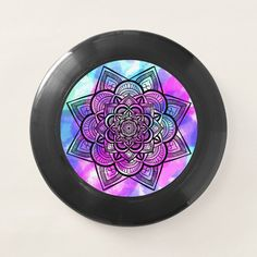 Geometric Floral Mandala Black / Multicolor Wham-O Frisbee - tap, personalize, buy right now! #WhamOFrisbee #mandala, #multicolor, #purple, #pink, #blue,
