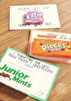 Funky Polkadot Giraffe: Teacher Appreciation: Sweet Notes Volunteer Appreciation, Teacher Appreciation Week, Volunteer Gifts, Teen Volunteer, Appreciation Note, Volunteer Ideas, Customer Appreciation, Little Presents, Little Gifts