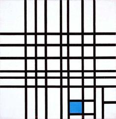 PIET MONDRIAN, Composition No. 12 with Blue, 1942. Oil on canvas.