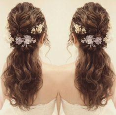 Weird Wedding Dress, Hairdo Wedding, Wedding Hair And Makeup, Bridal Makeup, Bridal Hair, Veil Hairstyles, Wedding Hairstyles, Curly Hair Problems, Hair Arrange