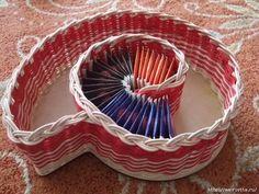 Плетение из газет. Вазочка УЛИТКА для чайных пакетиков