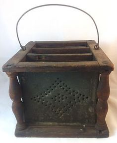 Antique New England Wood Amp Tin Metal Foot Warmer Stove
