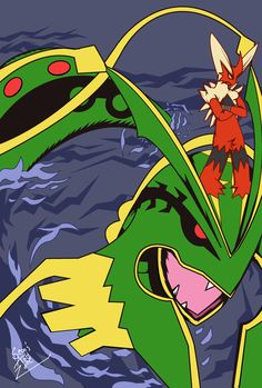 Drew 2 of my favorite Megas Blaziken and Rayquaza
