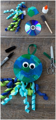 Octopus craft created from old CD and items in your home and classroom. Octopus Crafts, Peacock Crafts, Summer Crafts, Fall Crafts, Diy And Crafts, Dvd Case Crafts, Diy For Kids, Crafts For Kids, Snail Craft