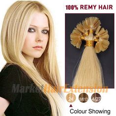 18 inches Ash #Blonde (#24) 50S Nail Tip #Human Hair Extensions...http://www.markethairextensions.ca/