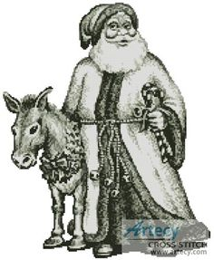 Santa and Donkey Cross Stitch Pattern http://www.artecyshop.com/index.php?main_page=product_info&cPath=41_42&products_id=761
