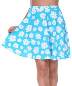 Another great find on #zulily! Light Blue & White Daisy Circle Skirt - Women by White Mark #zulilyfinds
