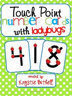 Touch Point number cards with Ladybugs. Print 2 sets for Match and Trace Concentration Preschool Math, Math Classroom, Kindergarten Math, Fun Math, Teaching Math, Teaching Ideas, Classroom Ideas, Touch Point Math, Touch Math
