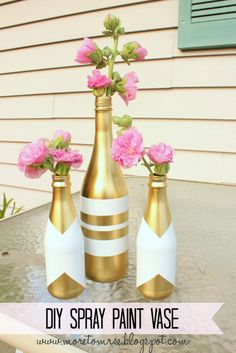 Find This Pin And More On DIY Crafts And Projects. DIY Spray Paint Vase   Reuse  Empty Bottles ...