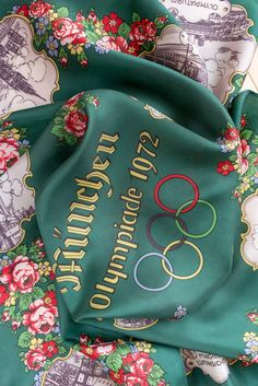 Vintage square scarf Olympic games Munich München 1972 women neckerchief USSR Soviet textile cream green square by Time-tested Finds