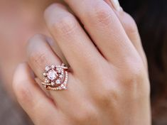 Morganite & Diamond Halo Engagement Ring, diamond hearts and infinity twist shank. Destiny. Price is for engagement ring only. Center stone can be also: diamond, black diamond, tanzanite, sapphire, moonstone, opal and more contact me for quote. Morganite ring details: ♥ Center