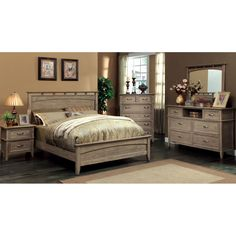 Furniture of America Seashore 4-Piece Weathered Oak Bed Set - Overstock Shopping - Big Discounts on Furniture of America Bedroom Sets